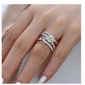 Two Tone Silver & Rose Gold Intertwine Luxury Ring